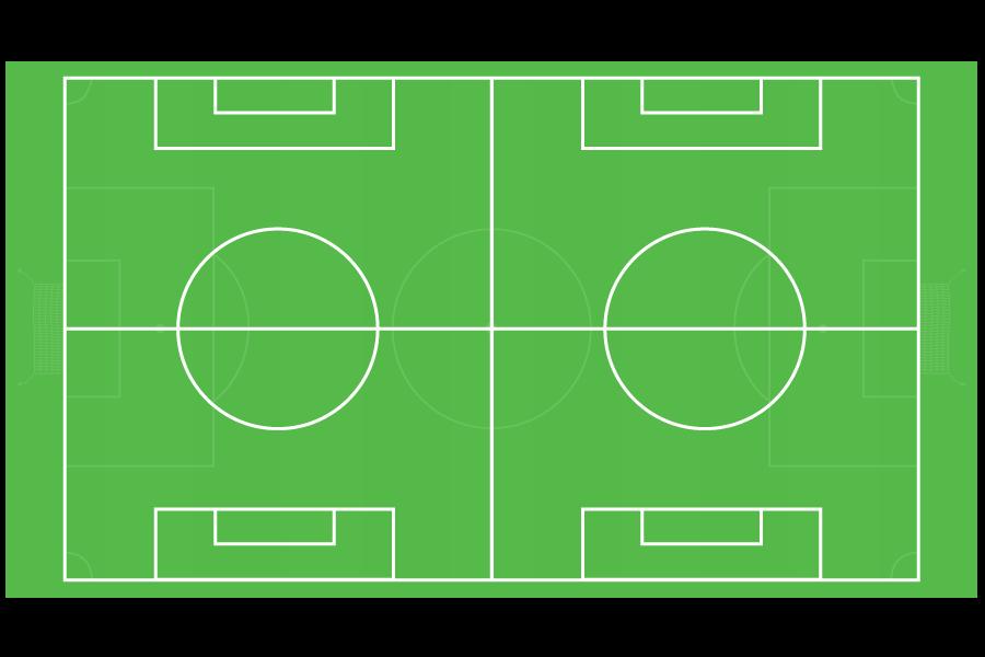 Dos canchas deportivas para fútbol soccer infantil con medidas oficiales de 60m x 45m